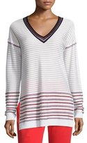 St. John Ottoman Knit Drop-Shoulder V-Neck Sweater, White