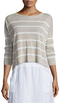 Eileen Fisher Long-Sleeve Striped Box Crop Top, Plus Size