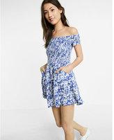 Express Floral Print Smocked Off The Shoulder Dress