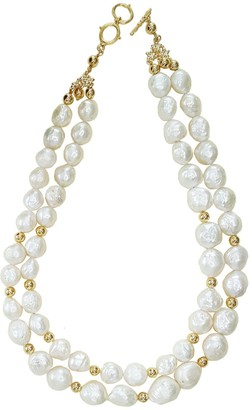 Farra Irregular Shaped Pearls Double Strands Necklace