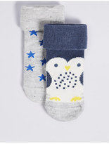Marks and Spencer 2 Pairs of Cotton Rich Socks (0-24 Months)