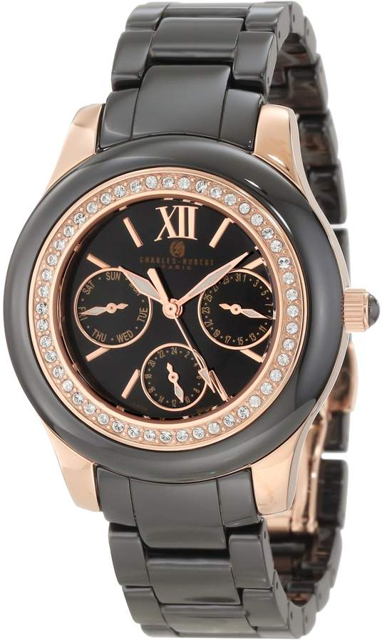 """Swarovski Charles Hubert Charles-Hubert, Paris Women's 6810-B """"Premium Collection"""" Ceramic and Stainless Steel Watch with Crystal Accents"""