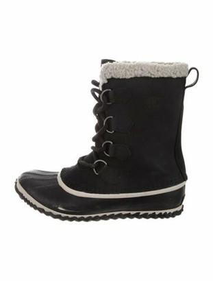 Sorel Suede Fur Trim Lace-Up Boots Black