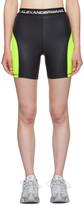 Alexander Wang Black and Yellow Logo Elastic Wash and Go Biker Shorts