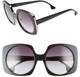 Alice + Olivia Women's Canton 55Mm Special Fit Square Sunglasses - Black