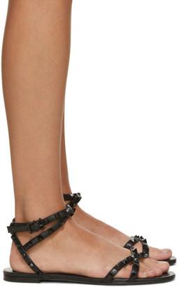 Valentino Black Garavani Rockstud Cross Flat Sandals