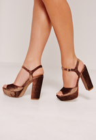 Missguided Velvet Barely There Platforms Bronze