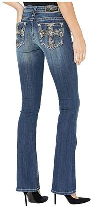 Miss Me Cross Embellished Bootcut Jeans in Dark Blue