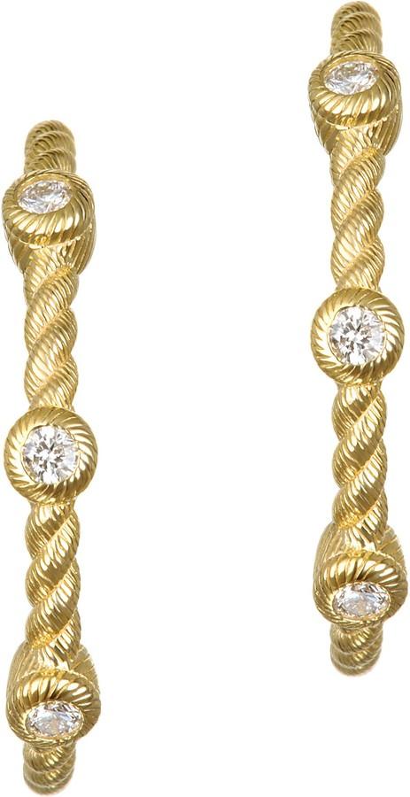 """Judith Ripka 14K Gold & Diamond 7/8"""" HoopEarrings"""