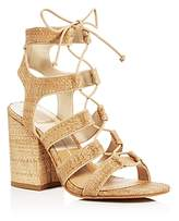 Dolce Vita Eva Raffia Lace Up Block Heel Sandals