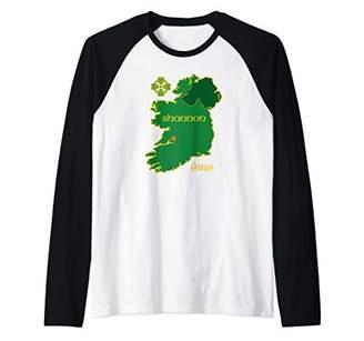 Celtic Shannon Ireland Vacation Travel Map Tourist Cross Raglan Baseball Tee