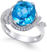 Macy's Swiss Blue Topaz (4-9/10 ct. t.w.) and White Topaz (1/3 ct. t.w.) Ring in Sterling Silver