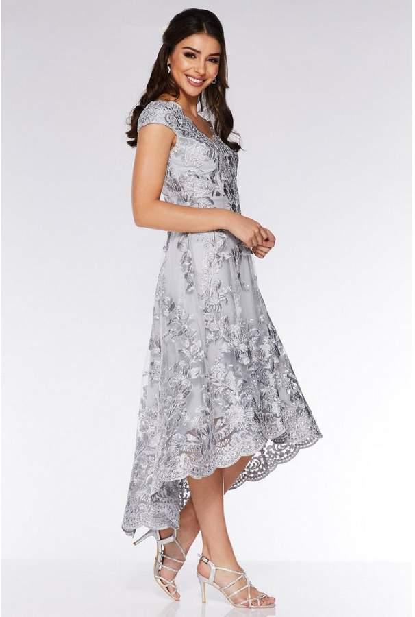 Quiz Grey Embroidered Bardot Dip Hem Dress