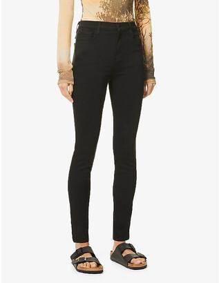 J Brand Ladies Black Leather Leenah Skinny High-Rise Stretch-Denim Jeans, Size: 23