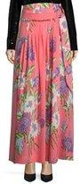 Diane von Furstenberg Floral-Print D-Ring Silk Midi Skirt, Pink