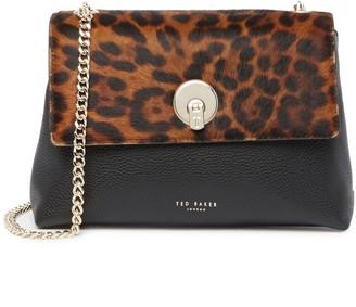 Ted Baker Luccie Genuine Calf Hair & Leather Leopard Crossbody Bag