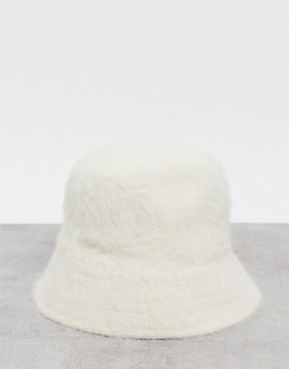Weekday Rho fluffy brushed bucket hat in off white