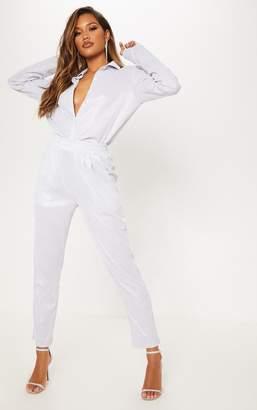 PrettyLittleThing Silver Glitter Mesh High Waisted Crop Trouser