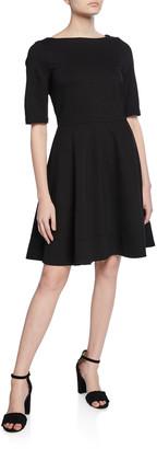 Kate Spade Lace-Up Back Elbow-Sleeve Ponte Dress