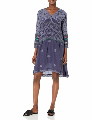 Johnny Was Women's Long Sleeve midi Dress with Tonal Embroidery
