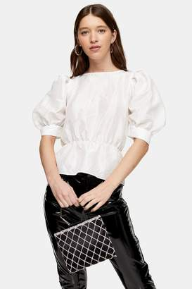 Topshop Womens Ivory Short Sleeve Puff Taffeta Blouse - Ivory