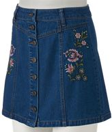 Mudd Juniors' Floral Embroidery Button-Front Jean Skirt