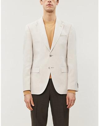 HUGO BOSS Slim-fit single breasted cotton-blend blazer