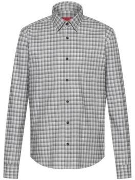 HUGO BOSS Slim Fit Shirt In Glen Check Cotton Flannel - Black