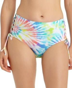 California Waves Juniors' Tie-Dye Printed Lace-Up High-Waist Bikini Bottoms, Created for Macy's Women's Swimsuit