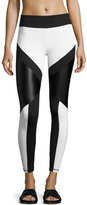 Lanston Odin Glossy-Paneled Combo Performance Leggings, Black