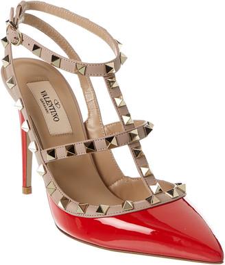Valentino Rockstud Caged 100 Patent Ankle Strap Pump