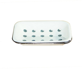 American Mercantile Metal Enamelware Soap Dish White