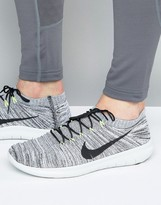 Nike Running Free Run Motion Flyknit Trainers In Grey 834584-100