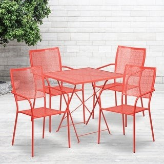 """Lancaster Home 28"""" Square Lt Gray Indoor-Outdoor Steel Folding Patio Table Set with 4 Chairs"""