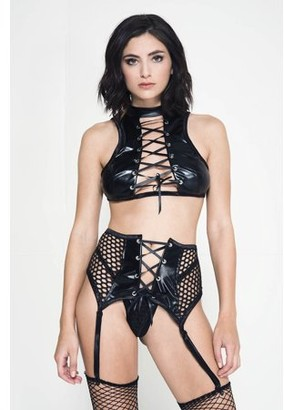 Music Legs Lace up high neck wet look top with fishnet garter belt and g-string 20039-M