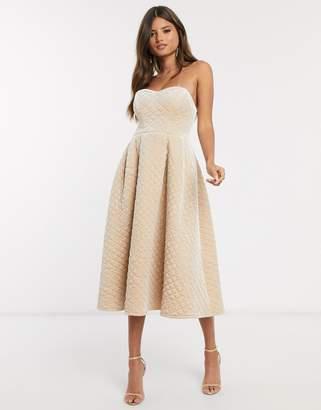 Asos Design DESIGN Premium quilted velvet bandeau prom midi dress