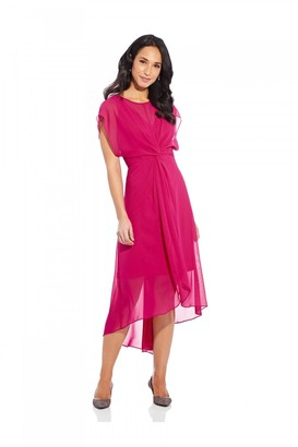 Adrianna Papell Chiffon Overlay Twist Dress In Bright Azalea