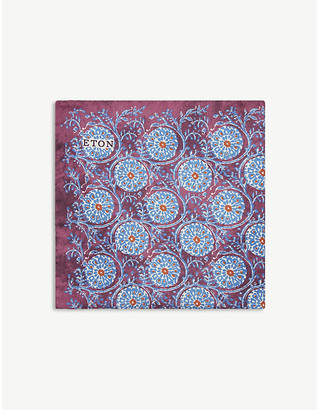 Eton Round floral print silk pocket square