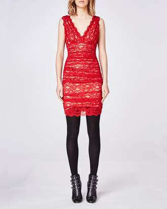 Nicole Miller Stretch Lace Ruched Dress