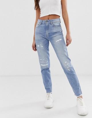 G Star G-Star 3301 Fringe high waisted crop jeans-Blue