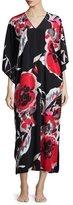 Natori Lana Drop-Sleeve Lounge Caftan, Black/Multicolor