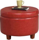 Asstd National Brand Round Faux-Leather Storage Ottoman