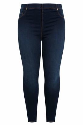Yours Clothing Womens Jenny Jeggings Indigo Stretchy Regular Fit Plus Size Size 16 Indigo Blue