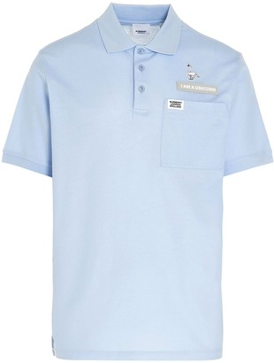 Burberry Swan and Slogan Applique Polo Shirt