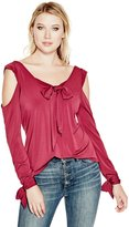 GUESS Long-Sleeve Tie-Front Top