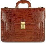 L.a.p.a. Men's Front Pocket Croco Stamped Italian Leather Briefcase