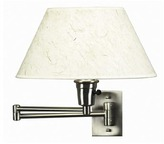 Bed Bath & Beyond Brushed Steel Swing Arm Sconce Lamp with Natural Fiber Shade