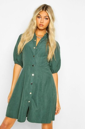 boohoo Tall Faux Suede Puff Sleeve Skater Dress