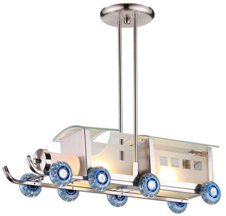 Design Living Children's Train Light Fixture With Adjustable Pipe
