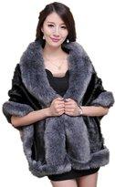 Generic 2016 Winter Women's Faux Fox Fur Double Layers Shawl Cloak Cape Coat